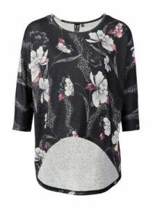 Womens *Izabel London Black Floral Print Low Top, Black