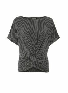 Womens Silver Twist Front T-Shirt, Silver