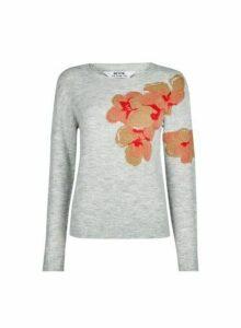 Womens Petite Grey Floral Motif Jacquard Jumper, Grey