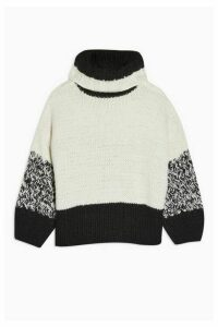 Womens Idol Twist Back Hand Knitted Jumper - Monochrome, Monochrome
