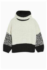 Womens Idol Twist Back Hand Knitted Jumper - Monochrome, Monochrome
