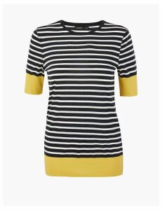 Autograph Striped Round Neck T-Shirt