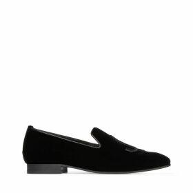 SACHE FLAT Black Velvet JC Embroidered Slippers