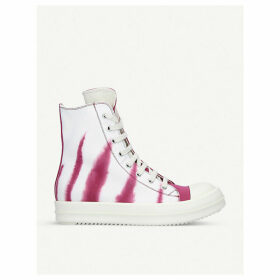 Tie-dye beetle high-top canvas trainers