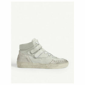 Distressed leather and suede high-top trainers