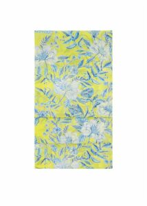Porcelain Silk Scarf Yellow Blue