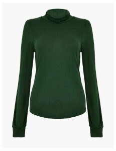 M&S Collection Turtle Neck Long Sleeve Fitted Top