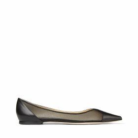 SAIA FLAT Flache Schuhe aus schwarzem Leder mit Netzstoff und spitzer Zehenpartie