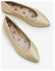 Hazel Woven Flats Gold Women Boden, Gold