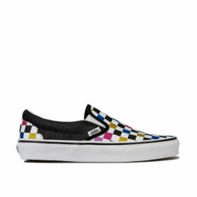 Womens Glitter Checkerboard Slip-On Skate Shoes
