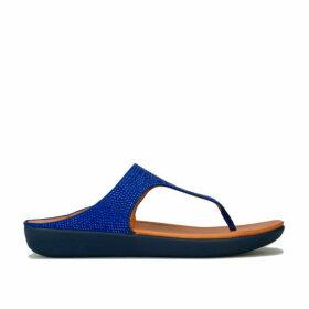 Womens Banda Crystalled Toe Thong Sandals
