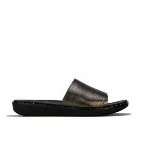 Womens Sola Metallic Snake Slide Sandals