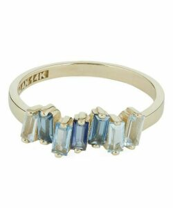 Gold Blue Topaz Baguette Ring