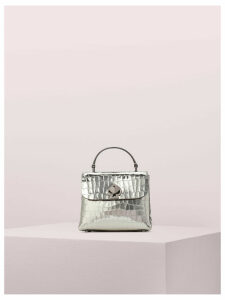 Romy Metallic Croc-Embossed Mini Top Handle Bag - Gunmetal - One Size
