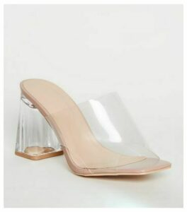 Cream Patent Clear Strap Block Heel Mules New Look