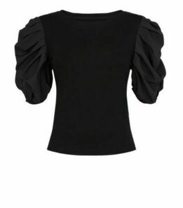 Cameo Rose Black Puff Sleeve T-Shirt New Look