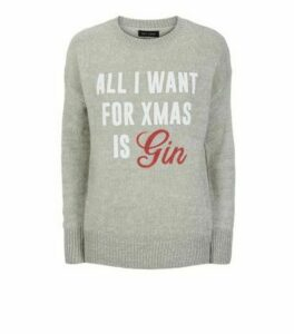 Light Grey Gin Christmas Slogan Jumper New Look