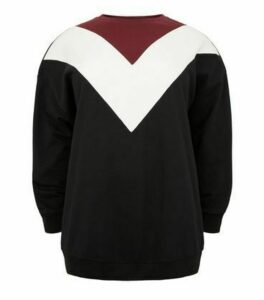 Curves Black Chevron Colour Block Sweatshirt New Look