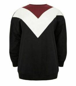 Curves Black Chevron Colour Block Sweatshirt New Look