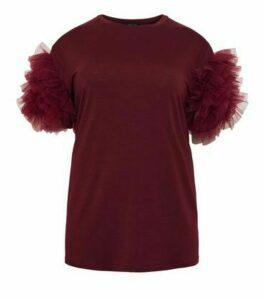 Curves Burgundy Mesh Ruffle Sleeve Top New Look