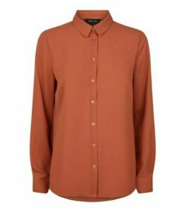 Rust Chiffon Long Sleeve Shirt New Look