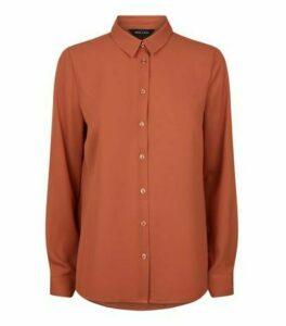 Rust Chiffon Long Sleeve Shirt New Look