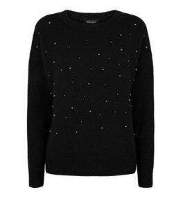 Black Faux Pearl Jumper New Look