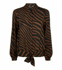 Brown Zebra Tie Front Shirt New Look