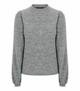 Grey Brushed Knit Puff Sleeve Jumper New Look