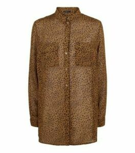 Brown Leopard Print Chiffon Shirt New Look