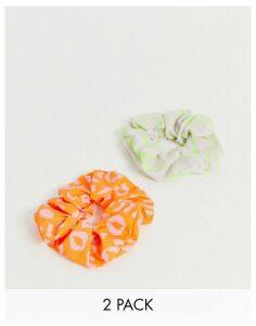 ASOS DESIGN pack of 2 scrunchies in colour animal print-Multi