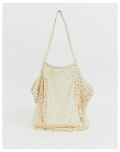 ASOS DESIGN beach string shopper bag-Cream