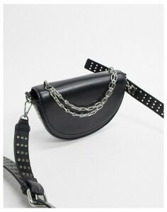 Topshop shoulder bag with chain detail in black