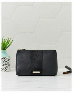 Paul Costelloe real leather black makeup bag