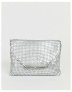 True Decadence silver mesh foldover clutch bag