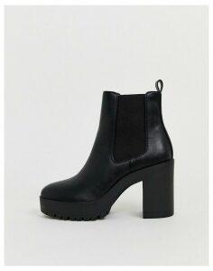 London Rebel chelsea platform ankle boots in black
