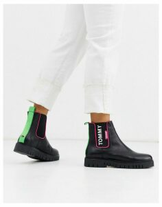 Tommy Jeans neon trim Chelsea boot-Black