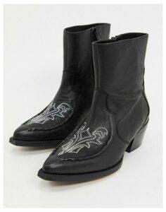 Gestuz Emelia western leather cowboy boots-Black