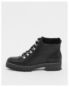 Carvela lace up hiker boot in black leather