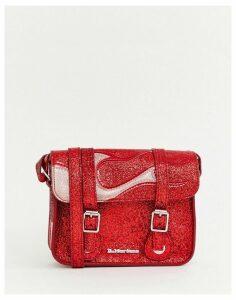 Dr Martens red glitter flame 7inch satchel