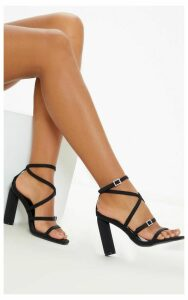 Black Cylinder Heel Diamante Buckle Strappy Sandal, Black