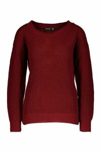 Womens Petite Oversized Jumper - red - 6, Red