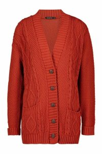 Womens Cable Knit Cardigan - orange - S/M, Orange