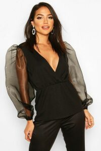 Womens Tall Organza Balloon Sleeve Peplum Blouse - black - 18, Black