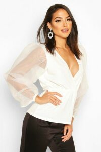 Womens Tall Organza Balloon Sleeve Peplum Blouse - white - 18, White