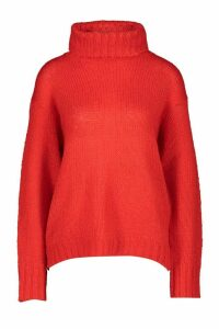 Womens Tall Loose Fit Roll Neck Jumper - red - XS, Red