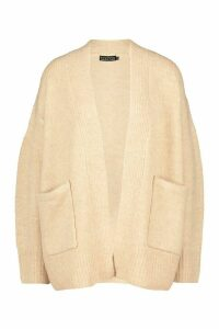 Womens Tall Soft Knit Edge to Edge Cardigan - beige - XS, Beige