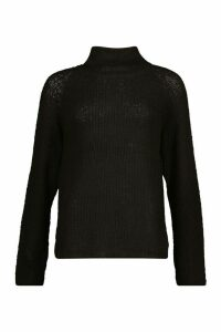 Womens Tall Soft Knit Roll Neck Jumper - black - XS, Black