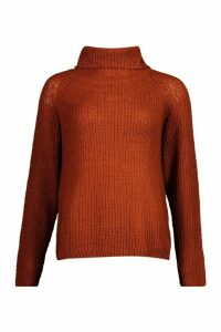 Womens Tall Soft Knit Roll Neck Jumper - brown - M, Brown