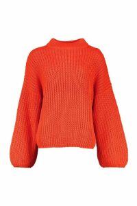Womens Tall High Neck Balloon Sleeve Jumper - orange - M/L, Orange